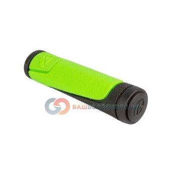 Ручки  на руль AUTHOR AGR-600-D3, 130 мм, резиновые, 2-х компонентные, черно-зеленые, 8-33452005Ручки и Рога<br>NEW, резиновые, эргодизайн, двухкомпонентные, 130мм, 96г/пара, черно-неоново-зеленые, блистер<br>