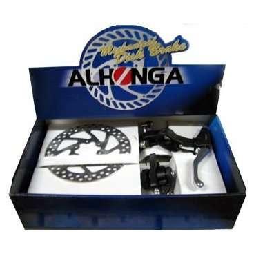 Комплект дисковых тормозов ALHONGA HJ-MD11+HJ-327ADV+2P, механические, ротор 160 ммТормоза на велосипед<br>ALHONGA Тормоза дисковые мех. HJ-MD11+HJ-327ADV+2P передний+задний с тормозными ручками и роторами 160мм<br>