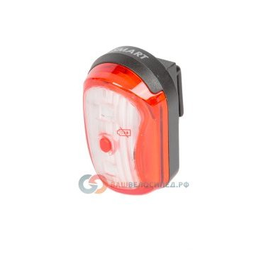 Фонарь SMART задний 2 диода(1*.0,5W) 1 функция, влагозащитный, красный с батарейками (100) 5-221514Фары и фонари для велосипеда<br>Фонарь задний SMART 2 диода(1*.0,5W) <br>- 1 функция <br>- повышенной яркости  <br>- Влагозащитный<br>- Индикатор заряда <br>- Цвет - красный <br>- С батарейками<br>Артикул 5-221514<br>