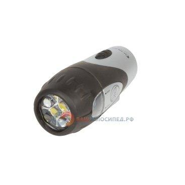 Фара 8-12002206 5 диодов повышенной яркости/2 функции A X-Guard 5 LED с батареями AUTHORФары и фонари для велосипеда<br>светодиодная, пластиковый корпус с резиновыми втавками , 5 белых диодов повышенной яркости, 2 функции, технология FocusLens 2, до 220/150 час, с батареями, серебристо-черная, крепление на руль без инструмента, блистер<br>