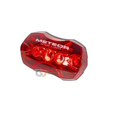 Фонарь AUTHOR задний 5д/5ф. A-Meteor R красный (20) с батар.8-12039136Фары и фонари для велосипеда<br>NEW, светодиодный, 5 диодов повышенной яркости, 5 функций, до 240/50 час, красный, c батареями, крепление на подседельный штырь без инструмента, блистер<br>