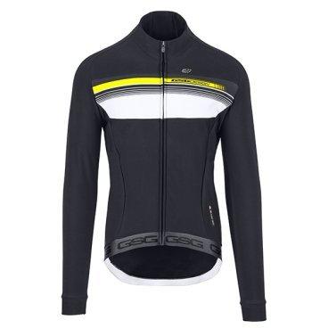 Веломайка длинный рукав GSG Cauberg Windproof LS Jersey, неоновый желтый, 04101-06-LВелокуртка<br>Длинный рукав с напечатанной вставкой на груди.<br>Ткань этой куртки представляет собой H2O Adversus, который представляет собой 4-сторонний эластичный флис;<br>этот материал дает превосходный комфорт, его можно использовать в неблагоприятных погодных условиях, так как он водоотталкивающий и теплый.<br>Есть 3 открытых кармана с отражающей полосой для обеспечения безопасности в темноте.<br>Внутри правого заднего кармана есть отверстие для наушников.<br>Длинная молния спереди.<br>На талии имеется кремниевый захват.<br><br><br>ТКАНИ: H2O ADVERSUS<br><br>ВЕС: 335gr<br>ВОДНЫЕ КОЛОНКИ:<br>