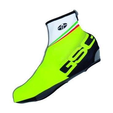 Велобахилы GSG Lycra Shoecovers, неоновый желтый, 12103-06-45/46Велообувь<br>Оригинальные бахилы для велотуфель от GSG, рассчитанные на использование в тёплое время года. Бахилы выполнены из лайкры и обеспечивают эффективную защиту от влаги и ветра во время езды.<br><br><br><br>ОСОБЕННОСТИ<br><br>Материал: лайкра<br><br>Застёжки на молниях<br>