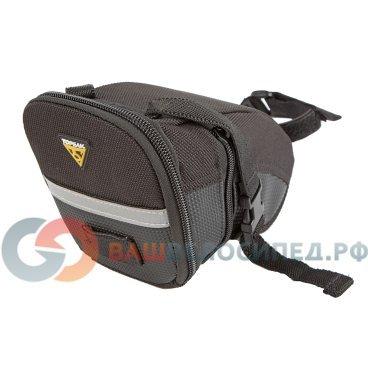 Подседельная велосумка TOPEAK Aero Wedge Pack w/strap mount MEDIUM TC2261BВелосумки<br>Подседельная велосумка Topeak Aero Wedge Pack with traditional strap mount. Качественная велосумка под седло. Светоотражающие элементы, удобное ремешковое крепление.<br><br>Тип крепления: подседельная<br>Материал: нейлон, полиэстер<br>Объем: 0.98-1.31 л<br>Вес: 130 г<br>Артикул: TC2261<br><br>Размеры:<br><br>Длина: 170мм,<br> <br>Ширина: 60-110мм,<br><br>Высота: 80мм<br>