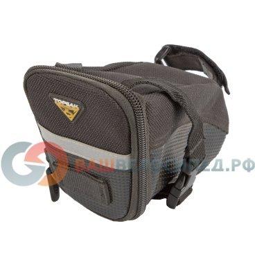 Подседельная велосумка TOPEAK Aero Wedge Pack w/strap mount SMALL (TC2260B)Велосумки<br>Подседельная велосумка Topeak Aero Wedge Pack with traditional strap mount. Качественная велосумка под седло. Светоотражающие элементы, удобное ремешковое крепление.<br><br> <br>Тип крепления: подседельная<br>Материал: нейлон, полиэстер<br>Объем: 0.66&amp;nbsp;л<br>Вес: 100 г<br>Габариты (ДxШxВ): 18&amp;nbsp;x 8.5 x 11 см<br>Артикул: TC2260<br><br>  <br><br><br>Размеры:<br><br>Длина: 140мм,<br> <br>Ширина: 50-80мм,<br><br>Высота: 70мм<br>