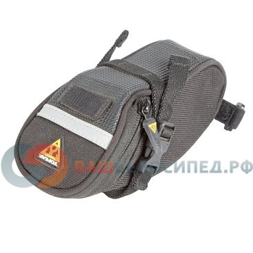 Cумка подседельная TOPEAK Aero Wedge Pack, крепление на липучке, TC2471BВелосумки<br>Подседельная сумка аэродинамической формы. Достаточно вместительна для велоаптечки и необходимых мелочей. Светоотражающая полоса и стропа для габарита. Легко моющийся материал в нижней части сумки. Крепится к рамке седла при помощи двух строп с фастексами и подседельному штырю на липучке.<br><br>Нейлоновые ремни, пряжка<br>Обьем: 0,41 л<br>Материал: полиэстер<br>Подседельный штырь диаметр: Подходит ?27.2 - ?34.9 мм<br>Дополнительные возможности: Светоотражающие полосы<br>Имеет крепление для задней мигалки<br>Размер (Д х Ш х В): 15 х 7 х 6,5 см<br>Вес: 85 г<br>