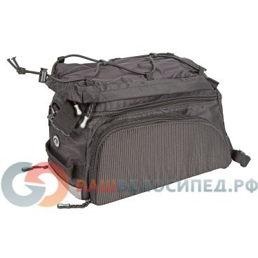 Велосумка на багажник AUTHOR CarryMore LitePack20, с плечевым ремнем, V=20л, черная, 8-15000097Велосумки<br>Велосумка для багажника AUTHOR Carry More LitePack20 быстросъемная,V=20л черная.<br>Практичная, велосумка изготовлена из высококачественного водоотталкивающего материала. Она идеально подойдет для перевозки фотоаппарата и других вещей в длительных поездках. Установлено универсальное и легкое крепление на все типы багажников, изменяемый объем главного отделения позволяет увеличить объем до 20 литров,<br> Особенности модели:<br>- раскладывающиеся 2 боковых кармана, <br>- плечевой ремень, <br>- отделения для мелких предметов и карты, <br>- быстросъемное крепление к заднему багажнику,<br>- совместимость с багажниками AUTHOR с системой CARRY MORE, <br>- в комплекте чехол от дождя, - светоотражающие элементы.  Цвет: черный<br>Объем: V=20л.<br><br> 8-15000097<br>