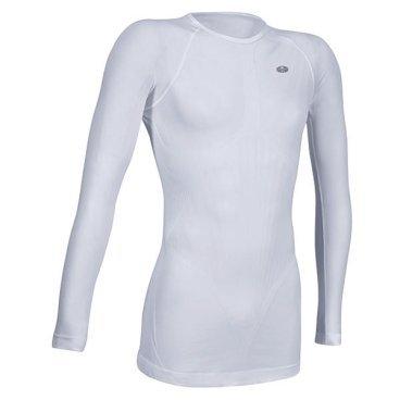 Термомайка GSG Long Sleeve Seamless Underwear Jersey, белый, 01082-01-S/MВелофутболка<br>Тонкая, эластичная и очень удобная фуфайка для ношения под одеждой. Модель выполнена из дышащей синтетической ткани и отлично сохраняет тепло, обеспечивая гонщику максимальный комфорт в прохладную погоду.<br><br><br><br>ОСОБЕННОСТИ<br><br><br><br>Материал: полипропилен<br><br>Рассчитана на температурный режим от 0 до +16 градусов<br>