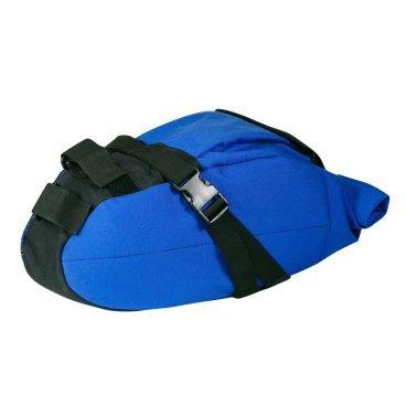 Сумка подседельная ВелоХорошо, 18х18х60см, 4-8л, синяя, SB02Велосумки<br>Эта сумка способна разгрузить вас и освободить от рюкзака, при этом все необходимое будет всегда с вами. Сумка довольно вместительна, но при этом, чтобы ее использовать, не нужно ничего, кроме седла. Она крепится к подседельному штырю и седлу в 3-х точках, что позволяет её надежно зафиксировать. Доступ ко всему содержимому осуществляется легко, для этого ее не нужно снимать. Также сверху есть карман для мелочи с карабином для ключей. Сумка может быть использована для транспортировки как самых необходимых вещей в городе - документы, деньги, ключи, телефон, так и для более дальних поездок, в которых может протребоваться дополнительный комплект одежды, велонасос, инструменты или бутылка воды. Благодаря системе типа Rolltop, объём нашей сумки меняется от 4х до 8 литров в считанные секунды. <br>Так же мы не забыли про стиль и отошли от обыденных для велобагажа тёмных цветов. Так что каждый найдет что-то для себя. <br><br>В наших изделиях мы используем только качественные материалы и фурнитуру. Поэтому наши липучки очень прочные, а пластмассовые крепежи выдержат не один год эксплуатации. <br><br>дополнительных креплений не требуется<br> <br>кол-во отделений: (одно большое отделение,1 маленький карман на липучке с карабином,1 боковой карман сетка)<br> <br>габариты(18х18х60см)<br> <br>объём(4-8л):<br> <br>вес: 370гр.<br> <br>материал : (100% Нейлон плотность 1000d с водоотnалкивающей пропиткой )<br> <br>Каркас: Мягкий в сочетании с уплотняющими материалами, жесткое дно.<br> <br>Доп характеристики: (лямка на плечо для удобной переноски)<br>
