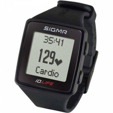 Пульсометр Sigma Sport iD.LIFE, черный, 24600Велокомпьютеры<br>Пульсометр Sigma Sport iD.LIFE, черный <br><br>Описание:<br>Монитор сердечного ритма ID.LIFE  cочетает в себе основные функции спортивных часов с возможностью отслеживания активности без необходимости использования приложения для смартфона.<br><br> Определение пульса (не требуется использования нагрудного датчика) за счет встроенного в часы сенсора.<br><br>Функции пульсометра:<br><br>·        Текущая частота сердечных сокращений, измеренная от запястья<br><br>·        Тренировочные зоны<br><br>·        Целевая зона тренировки<br><br>·        Расчет максимальной частоты сердечных сокращений<br><br>·        Статистика тренировок за месяц<br>·        Отслеживание активности: шаги/калории/дистанция (может быть отключено)<br><br>·        Вибрация<br><br>·        Индикатор заряда батареи<br><br>·        Подсветка дисплея<br><br>·        Минеральное стекло<br><br>·        Время/дата<br><br>·        Силиконовый ремешок<br><br>·        Блокировка кнопок<br><br>·        Текущая скорость<br><br>·        Общая дистанция<br>