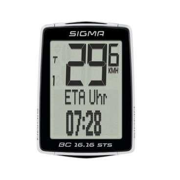 Велокомпьютер Sigma Sport BC 16.16 STS 2016 беспроводной, черный, 01617Велокомпьютеры<br>Велокомпьютер Sigma Sport BC 16.16 STS 2016 беспроводной, черный<br><br>Описание<br>Велокомпьютер SIGMA BC 16.16 STS – это выбор большинства райдеров. Отображение ETA (estimated time of arrival) показывает время прибытия или еще необходимое время в пути и оставшееся расстояние. Кроме того, ведется подсчет километров в пересчете на сэкономленное топливо. STS – версия с возможностью беспроводного соединения.<br>По NFC-технологии компьютер может обмениваться данными с Android-смартфоном, на котором установлено приложение SIGMA LINK.<br> <br>Особенности:<br>2 размера колес<br>Автоматический старт / стоп<br>Автоматическое сопряжение<br>Автоматическое распознавания<br>Резервная функция микросхемы памяти (общая и установка значений)<br>Передача данных с помощью док-станции TOPLINE 2016 года<br>Цифровой диапазон 90 см<br>Режим экономии энергии<br>Подсветка<br>Связь с смартфон (android) через NFC<br>Интервала обслуживания регулируется с помощью УФСБ<br>Языки: 7<br>Статистика обучения в течение 12 месяцев<br><br>Функции:<br>Текущая скорость<br>Средняя скорость<br>Время вождения<br>Максимальная скорость<br>Время прибытия (ETA) таймер<br>Время (12/24)<br>Общее время в пути<br>Общее расстояние для двух колес<br>Текущая температура<br>Общая экономия топлива<br>