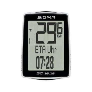 Велокомпьютер Sigma Sport BC 16.16 2016 черный, 01616Велокомпьютеры<br>Велокомпьютер Sigma Sport BC 16.16 2016, черный<br><br>Описание<br>Велокомпьютер BC 16.16 поддерживает технологию NFC. Она позволяет легко выполнять все настройки на смартфоне. По возвращении из поездки с помощью NFC можно перенести данные о поездке на смартфон. На смартфоне должно быть установлено приложение SIGMA Link App.<br><br>Особенности:<br>Беспроводная связь малого радиуса (NFC) со смартфоном Android с помощью приложения SIGMA LINK<br>Сохраненные в памяти размеры шин<br>Статистика тренировок за год<br>Водонепроницаемый<br><br>Функции:<br>Текущая скорость<br>Средняя скорость<br>Сравнение текущей и средней скорости<br>Максимальная скорость<br>Дневной пробег<br>Общий пробег (велосипед 1 / велосипед 2)<br>Время в пути<br>Общее время поездки (велосипед 1 / велосипед 2)<br>Часы<br>Индикация ETA (время /таймер /расстояние)<br>Температура<br>Экономия топлива за день<br>Общая экономия топлива<br><br>В комплект входят:<br>Велокомпьютер BC 16.16 STS<br>Датчик скорости<br>