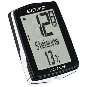 Велокомпьютер Sigma Sport BC 14.16 2016, проводной, черный,  01416Велокомпьютеры<br>Велокомпьютер Sigma Sport BC 14.16 2016, черный<br><br>Описание<br>Велокомпьютер SIGMA BC 14.16 является идеальным спутником для всех, кто ставить высокие цели. Расширенные функции высотомера включает в себя графический профиль высоты и процент подъема.<br><br>Особенности:<br>2 размера колес<br>Автоматический старт / стоп<br>Резервная функция микросхемы памяти (общая и установка значений)<br>Передача данных с помощью док-станции topline 2016 года<br>Режим экономии энергии<br>Подсветка<br>Связь с смартфон (android) через nfc<br>7 языков<br>Статистика тренировок на 12 месяцев <br><br>Функции:<br>Текущая скорость<br>Средняя скорость<br>Время вождения<br>Максимальная скорость<br>Время (12/24)<br>Общее время в пути<br>Общий прирост высоты<br>Общее расстояние для двух колес<br>Текущая температура<br><br>Функции высотомера:<br>Текущий уровень<br>Текущий наклон / склонение<br>Высота профиля<br><br>В комплект поставки входит:<br>Держатель кабеля 2032<br>Магнит<br>2 уплотнительные кольца (? 35 мм, 45 мм)<br>
