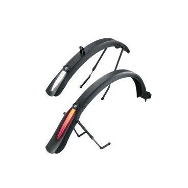 TOPEAK DeFender iGlow TX комплект крыльев д/дорожного вел-да с широкими покрышками со свет.полосойКрылья для велосипедов<br>Комплект крыльев для дорожного велосипеда с широкими покрышками TOPEAK DeFender iGlow TX со светлой полосой<br><br>Комплект крыльев Topeak DeFender iGlow TX, революционные полноразмерные крылья для городского велосипеда со встроенным освещением, совместимы с колесами 700x44C, надежный способ крепления, выполнены из прочного пластика, два режима работы. Topeak DeFender iGlow TX защитят вас от грязи и сделают катание в темное время суток безопаснее.<br>