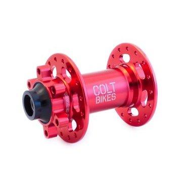 Втулка передняя Colt Bikes .38 15mm, 32h, красныйВтулки для велосипеда<br>Втулка передняя Colt Bikes .38 15mm, 32h, красная.<br><br>Описание<br>Рады представить серию втулок COLT.38! Промышленные подшипники защищены дополнительными влагоустойчивыми пыльниками. Сменные чашки позволяют конвертировать втулку в один из нескольких популярных стандартов.<br><br>Особенности<br>Корпус: AL 6061<br>Ось: AL 7075-T6<br>Крепление: 15х110 мм<br>Подшипники: NBK закрытые промышленные<br>Вес: 160г<br><br>Технические параметры<br>От левого края до центра левого фланца: 28мм<br>Расстояние между фланцами: 57мм<br>Диаметр фланцев: 2,6мм<br>Толщина фланца: 3,3мм<br>Диаметр отверстий под спицы: 56мм<br>Подшипники: 17287 x2<br>