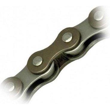 """Цепь велосипедная KMC Z610H 1скоростная, 1/2x3/32 112 links Brown/Silver (Z610HBRGY112)Велосипедная цепь<br>Цепь KMC Z610H 112 links brown/silver 3/32 (1ск) <br><br>Описание:<br>Самая прочная цепь из линейки KMC, благодаря столь высокой прочность Z610H можно использовать на электровелосипедах. Специальная форма звеньев делает работу  цепи плавной и бесшумной, а технология """"DropBuster"""" препятствует соскакиванию цепи. Специальные фаски для сверхплавного скольжения. Высокое качество материалов и клепки подразумевает прочность, долговечность и износоустойчивость – качества, которые так важны в BMX-рейсинге, фристайле, стрите. Отличный вариант для трековых велосипедов, крузеров, совместима даже с планетарными втулками. Подойдет к звездам и системам любых производителей. Замок для цепи в комплекте.<br><br>Характеристики:<br><br>-Кол-во скоростей: 1<br>-Размер: 1/2 x 3/32<br>-Длина звеньев: 7.8 мм<br>-Кол-во звеньев: 112<br>-Замок: Master link<br>-Вес: 310 г<br>-Цвет: коричневый/серый<br>"""