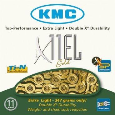 Цепь велосипедная KMC X11EL 11скоростей, 114L, золотая (BXEL11T4)Велосипедная цепь<br>Цепь KMC X11EL 11ск. 114L золотая <br><br>Описание<br>Одна из лучших цепей на рынке, рассчитанная на использование с 11-скоростными кассетами. Основное преимущество этой цепи – особым образом отфрезерованные щёчки звеньев, обеспечивающие максимально тихое и чёткое переключение. Кроме того, данная модель легче большинства аналогов (засчёт использования полых пинов и облегчённых щёчек звеньев) и обладает большей поперечной жёсткостью.<br><br><br><br>Характеристики: <br><br><br>Количество звеньев: 114<br><br>Совместима с 11-скоростными системами Shimano, SRAM и Campagnolo<br><br>Сверхпрочные полые пины<br><br>Специальная машинная обработка щёчек звеньев обеспечивает снижение веса и предотвращает скапливание грязи в прорезях<br><br>Непревзойдённая поперечная жёсткость<br><br>Уникальное покрытие Titanium Nitride Gold coated<br><br>Вес: 252 грамма<br>