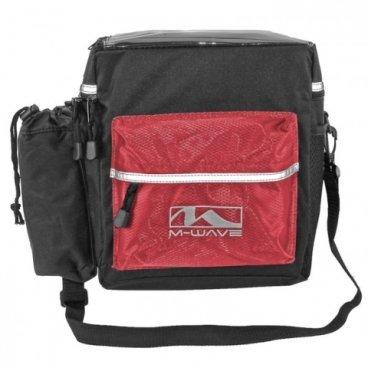 Велосумка M-WAVE на руль, быстросъемная с плечевым ремнем, черно-красная, 5-122813Велосумки<br>Велосумка на руль M-Wave Travel Bar<br><br>Описание<br>Велосумка с креплением на руль UTRECHT TRAVEL M-WAVE, высокопрочный износостойкий материал NYLON 600D, несколько карманов и отделений, верхное окошко для карты, телефона или планшета, боковой карман для фляги или бутылки, с плечевым ремнем для переноски, со светоотражающими элементами PVC, черно-красная.<br>