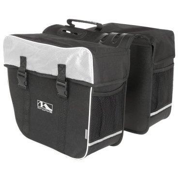 Сумка-штаны M-WAVE на багажник, 30 л., черно-белая, 5-122802Велосумки<br>Сумка M-WAVE штаны на багажник, черно-белая<br><br>Описание <br>M-Wave Amsterdam Double Pannier Bag - отличный вариант для поездок на выходные, ежедневных поездок или посещения продуктового магазина. Коллекция сумок  M-Wave оснащена 600D Tear Proof Nylon и отражающими материалами для самых требовательных велосипедистов. Доступно в нескольких цветах!<br><br>Харктеристики:<br>-600D Tear Proof Nylon<br>-Светоотражающие полоски и сетка <br>-Размеры: 13,5 x 7 x 12 дюймов <br>-Объем:30 л<br>-Большие основные отсеки с защелками Quick Release, и укрепленные пластиковыми стенками.<br>