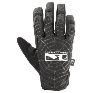 Перчатки велосипедные  M-WAVE SPIDERWEB, черные, 5-719867Велоперчатки<br>Перчатки M-WAVE SPIDERWEB - XL, черные <br>Описание <br>Отличные всесезонные спортивные перчатки для всех видов спорта, Spider Web от M-Wave сочетает в себе ткань спандекса с прорезиненной ладонью, с нескользящей прокладкой и вентиляцией. Эти перчатки сделаны с возможностью работать с любим сенсорным экраном телефона. и эластичный браслет.<br><br>Особенности:<br>Амортизирующий гель<br>Нескользкая внутренняя поверхность<br>Для работы с сенсорным экраном<br>Текстильная вставка на большом пальце <br>Специальные мягкие зоны<br>Размер: S-22 cм, M-24 cм, L-27 cм, ХL-29 cм (обхват ширины ладони)<br>