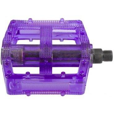 Педали велосипедные M-WAVE BMX, пластикоевые, широкие, ось Cr-Mo, фиолетовые, 5-311389Педали для велосипедов<br>Педали M-Wave - BMX <br><br>Технические характеристики: <br>Тип велосипеда: BMX <br>Цвет: фиолетовый<br>Материал: пластик <br>Вес: 390 г<br>Ось: 9/16 дюйма<br>Размер: 10 x 10 см (Д х Ш)<br>