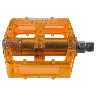 Педали велосипедные M-WAVE BMX, пластикоевые, широкие, ось Cr-Mo, оранжевые, 5-311387Педали для велосипедов<br>Педали M-Wave - BMX <br><br>Технические характеристики: <br>Тип велосипеда: BMX <br>Цвет: оранжевый<br>Материал: пластик <br>Вес: 390 г<br>Ось: 9/16 дюйма<br>Размер: 10 x 10 см (Д х Ш)<br>