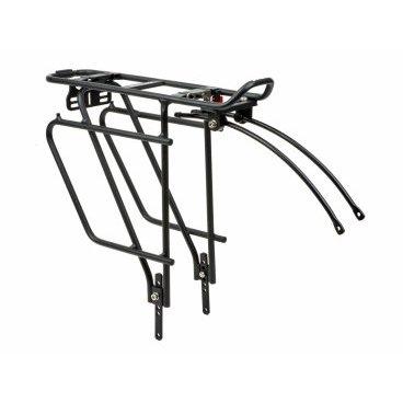 Велобагажник AUTHOR ACR-65-Alu Carrymore, алюминий, 24-29, сварной, черный, 8-15200242Багажники для велосипеда<br>Жесткий задний багажник AUTHOR ACR-65-Alu. Оснащен регулируемыми подножками, чтобы соответствовать большинству велосипедных колес MTB и 700C с 24 до 29 дюймов. Эта жесткая трубчатая стойка предназначена для классических загруженных велопрогулок, поездок на работу.<br> <br>Встроенная боковая панель обеспечивает более низкую точку крепления багажника, позволяющую больше места для груза сверху стойки. Система фиксации CARRY MORE совместима с любыми сумками CARRY MORE, даже с задней корзиной. Также можно использовать любые другие корзины и сумки. <br>Регулируемые верхние положения для разных размеров рамы.<br>ПОДРОБНАЯ СИСТЕМА фиксации<br>Максимальный вес: 25 кг / 55 фунтов.<br>Материал AL6061-T6, трубка d. 10мм.<br>Размер загруженного места 110x390 мм.<br>Хвостовое крепление для крепления задних фонарей.<br>Включает все крепежные приспособления.<br>Прецизионная сварка всех критических опорных точек.<br>Вес носителя 780 г.<br>Протестировано согласно EN14872.<br>Деталь продуктаVAT:  21%<br>Единица: PCE<br>Упаковка (P): 12<br>