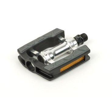 Педали AUTHOR, алюминий APD-326ALU-Ns, литые с резиновой накладкой и отражателем, 8-34053020Педали для велосипедов<br>Размер 95 x 80 x 22 мм<br>вес 262 г<br>EPB SYSTEM (специально спроектированный полимерный подшипник) уменьшенный вес<br><br>меньше движущихся частей<br>материал AL / армированный пластик<br>