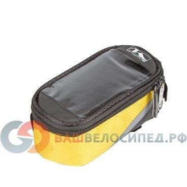 Сумочка-чехол вело M-WAVE, для смартфона, +бокс 170х80х80мм, с влагозащитой, черно-желтая, 5-122556Велосумки<br>Сумочка-чехол M-WAVE, для смартфона, +бокс 170х80х80мм, с влагозащитой, черно-желтая. <br>Для смартфонов/телефонов/плееров/навигаторов<br>- возможность управления сенсорным экраном<br>- влагозащитный материал<br>- корпус защитой от механических воздействий<br>- с дополнительным боксом<br>- универальное крепление к раме и рулевой колонке 3-мя липучками<br>- светоотражаюшие элементы<br>р-р 170х80х80мм<br>Цвет: черно-желтая<br>