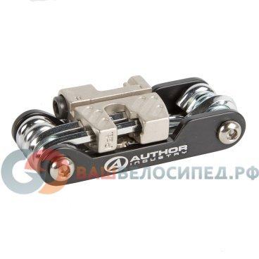 Ключ складной 8-10000015 Expert 12 PRO AUTHORВелоинструменты<br>высокопрочная сталь с хромированным покрытием, гексы 2, 2,5, 3, 4, 5, 6, 8мм, отвертки плоская и крестовая, ключ-звездочка Т25, выжимка цепи, ключ для спиц, 170г, 30x80x20мм, черный, блистер<br>