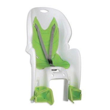 Детское велокресло на багажник NFUN AMICO, белое с зеленой вставкой, до 7лет/22кг, 01-100023Детское велокресло<br>Велокресло белое, зеленая подкладка, крепится к багажнику, до 22кг, до 7 лет, регулируемая высота подножек, с трехточечными регулируемыми страховочными ремнями, отражатель на спинке, облегченное, быстросъемное, cертификат T?V (Италия)<br>