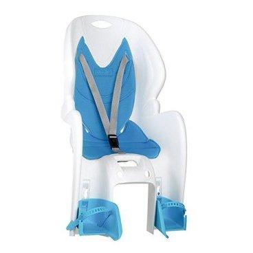 Детское велокресло на багажник  NFUN AMICO, белое с голубой вставкой, до 7лет/22кг, 01-100024Детское велокресло<br>Велокресло белое, голубая подкладка, крепится к багажнику, до 22кг, до 7 лет, регулируемая высота подножек, с трехточечными регулируемыми страховочными ремнями, отражатель на спинке, облегченное, быстросъемное, cертификат T?V (Италия)<br>