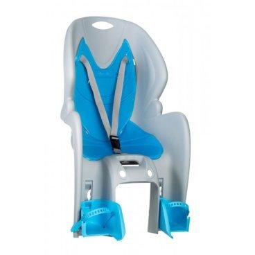 Детское велокресло на багажник NFUN AMICO, серое с голубой вставкой, до 7лет/22кг, 01-100027Детское велокресло<br>Велокресло серое, голубая подкладка, крепится к багажнику, до 22кг, до 7 лет, регулируемая высота подножек, с трехточечными регулируемыми страховочными ремнями, отражатель на спинке, облегченное, быстросъемное, cертификат T?V (Италия)<br>