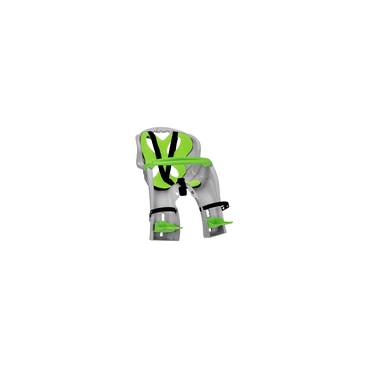 Детское велокресло переднее на вынос NFUN SIMPATICO, серое с зеленой вставкой, до15кг, 01-100031Детское велокресло<br>Велокресло светло-серое, зеленая подкладка, крепится к выносу 1, до 15кг, до 4 лет, регулируемая высота подножек, с трехточечными регулируемыми страховочными ремнями, с поручнем, быстросъемное T?V (Италия)<br>