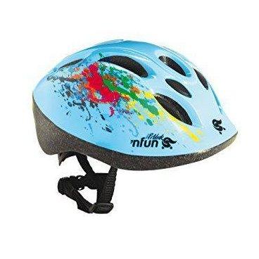 Велошлем детский NFUN POLLOCK, 8 отверстий, голубой, 01-10001Велошлемы<br>Велошлем 8 отверстий, с защитной сеточкой, высокопрочный пластик, технология InMold обеспечивает высокую прочность при низком весе, регулируемый, синий (дизайн POLLOCK), разработан и протестирован в Италии, инд. уп.<br>