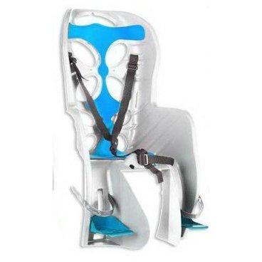 Детское велокресло на подседельный штырь NFUN CURIOSO, до 7лет/22кг, 01-100056Детское велокресло<br>Детское велокресло белое, голубая подкладка, крепится к подседельной трубе, до 22кг, до 7 лет, регулируемая высота подножек, с трехточечными регулируемыми страховочными ремнями, отражатель на спинке, облегченное, быстросъемное, cертификат T?V (Италия)<br>