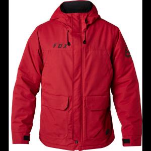 Велокуртка Fox Trackside Jacket, темно-красный 2018Велокуртка<br>Лёгкая непромокаемая куртка, которая не только надёжно защищает от дождя, но и отлично дышит. Модель выполнена из плотной хлопковой ткани с влагоотталкивающим покрытием C6 DWR, а основные её особенности – это регулируемый капюшон и вместительные боковые карманы.<br><br><br><br>ОСОБЕННОСТИ<br><br><br><br>Материал: 68% - хлопок, 32% - нейлон<br><br>Влагоотталкивающее покрытие C6 DWR<br><br>Регулируемый капюшон<br><br>Вместительные карманы по бокам<br>