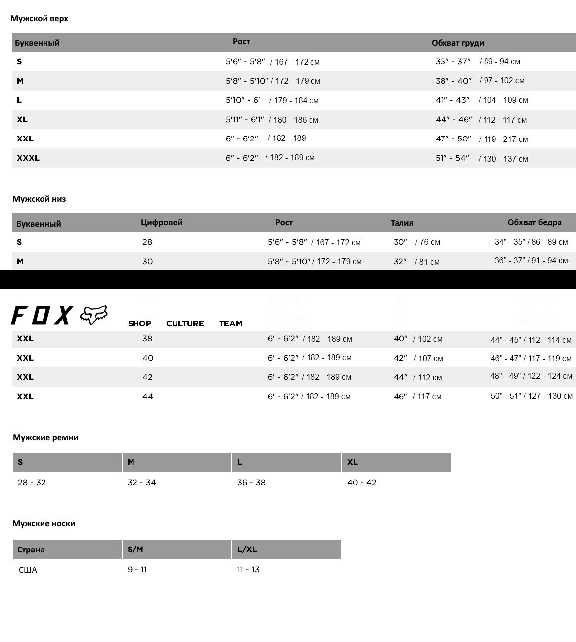 Соответствие размеров одежды Fox Racing
