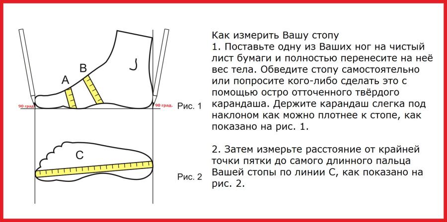 Определение размера стопы