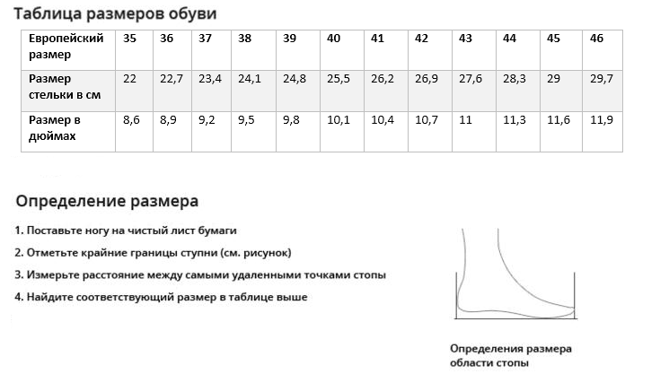 Таблица размеров обуви FunkierBike