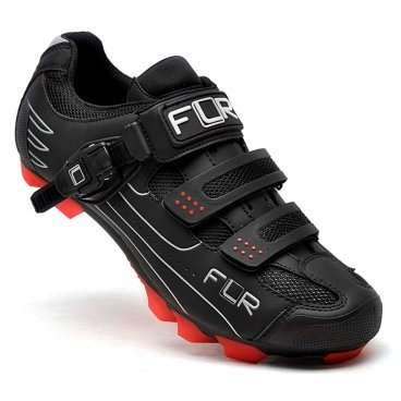 Велотуфли FunkierBike NEW F-65 MTB облегч. материал иск.кожа 2 липучки+застежка р.43 черные 15-533  - купить со скидкой