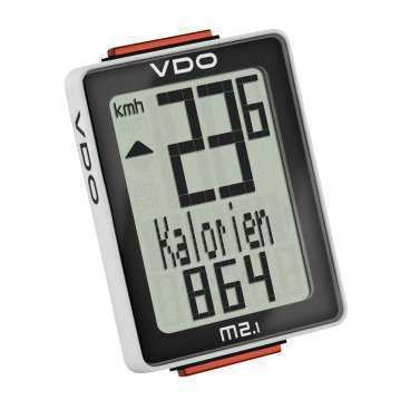 Велокомпьютер VDO M2.1WL, 8 ф-ций, беспроводной, 3-строчный дисплей, черно-белый, (Германия) 4-30025