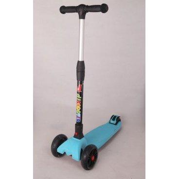 Самокат, алюминий/пластик детский складной руль, со светящимися 3-х колес.135 и 85мм, 00-170062  - купить со скидкой