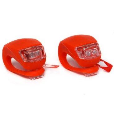 Фонари велосипедные HJ008-2 red, передние+задние комплект, 3 функции, красные  - купить со скидкой