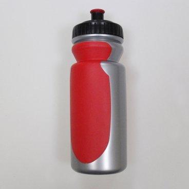 Фляга велосипедная V-GRIP V-6000, 550мл, пластик, с клапаном, резиновые вставки, серебро/красный  - купить со скидкой