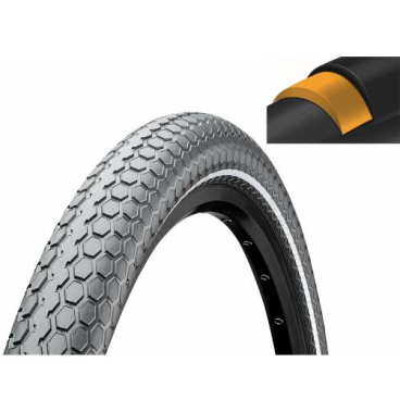 Покрышка велосипедная Continental RIDE Cruiser 26 x 2,0 , 50-559, Reflex, 3/180TPI, Extra Puncture Belt, серая, 101526  - купить со скидкой