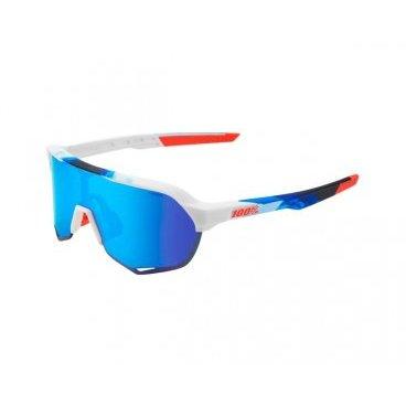 Очки спортивные 100% S2 Matte White/Geo Print/HiPER Blue Multilayer Mirror, 61003-085-75  - купить со скидкой