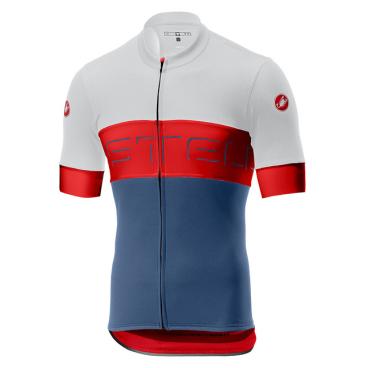 Велофутболка Сastelli Prologo VI, белый/красный/синий, 2019  - купить со скидкой
