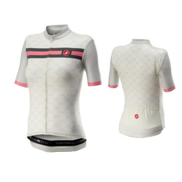 Велофутболка женская Сastelli ATELIER, белый/розовый, 2020  - купить со скидкой