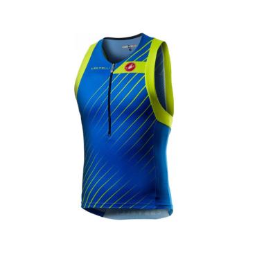 Майка триатлон Сastelli FREE TRI TOP, синий/зеленый, 2020  - купить со скидкой